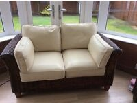 2 Seater cane M&S settee with leather cushions