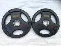 10 x 10kg Base Tri-Grip Rubber Olympic Weights