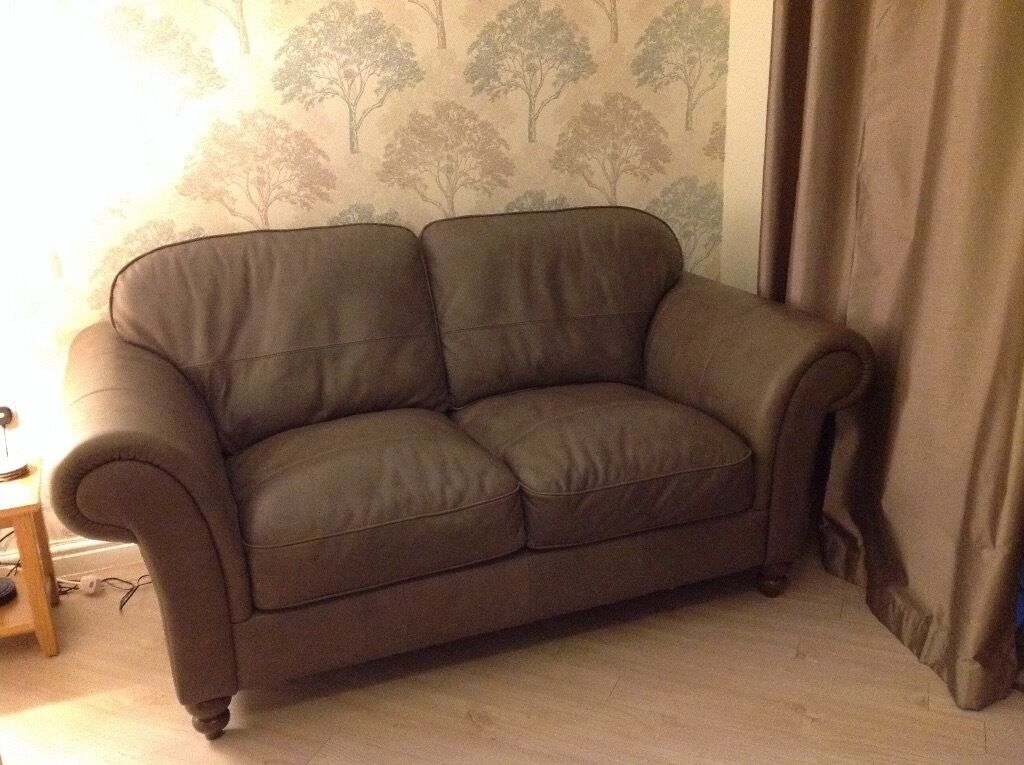 2 X Seater Leather Sofas From The Esme Range At Bhs In Truffle Grey