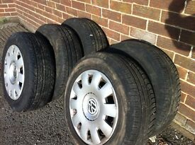 5 Wheels and Tyres to fit Golf Mk 4 etc.