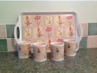 Mugs with Matching Tray.