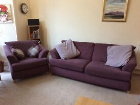 Sofa and Armchair W/ 4 Scatter Cushions