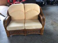 Three Cane Furniture Set Sofa & Two Chairs