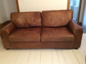 Two Seater / Three Seater Tan / Brown Leather Sofa
