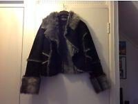Sheepskin effect fur lined jacket