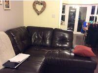 Chocolate bonded leather corner sofa