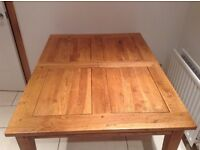Oak Table and four chairs (as new). Halo (Sterling Furniture)