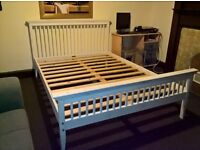 Double bed white wooden (Free delivery see description)