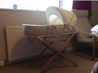 Mamas & Papas Moses Basket with Wooden Stand