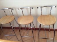 Bar stools wood/chrome x 3. Solid & in good condition.