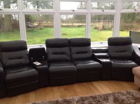 Australian thick leather 4 man recliner sofa with docking station and storage