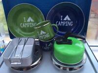 Camping equipment (various - plates, bowls, mugs, pans, kettle, glasses)