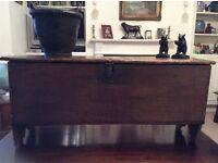 17TH CENTURY ELM/OAK 6 PLANK COFFER...