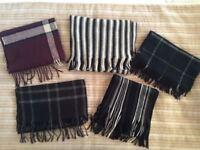 Large Selection of Seven (7) Men's Boys Winter Wool Scarves