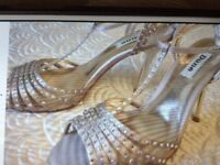 DUNE Sandals in Champagne colour. Clear crystals. Heels. Size 6 (39)