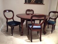 Antique Pie Crust Edged Extendable Table with ball & claw feet and 4 Chairs