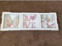 SET OF THREE FRAMED 3D BUTTERFLY PICTURES LIVINGROOM KIDS ROOM