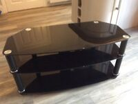 Black Glass TV Stand in Very Good Condition