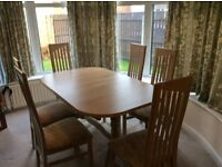 Limed oak extendable dining room table and 6 chairs