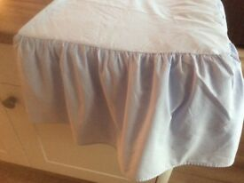 Two single bed base valances in pale blue made by Brentfords