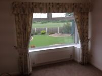 Cream Curtains with a soft pastel pattern - Reduced Price