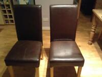 Dining room chairs - brown faux leather