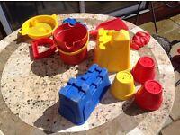 Buckets, spade and sandcastle pots