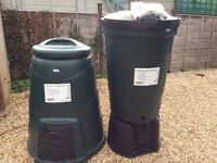 BOTH NEW LARGE 200L water butt & 330L composter