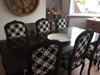 For sale of swap - stunning black engraved glass and French style chairs dining sey