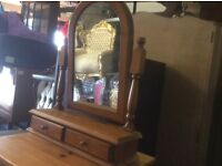 Pine table top mirror