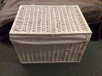 White wicker storage chest
