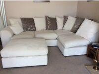 Corner sofa cream chenille cushions foot stool