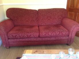 Marks &spencer sofas, a 2 and a 3 seater in deep red with gold in excellent condition