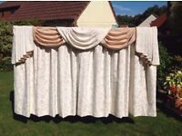 1 pair cream and toffee coloured lined curtains with pelmet valance and track