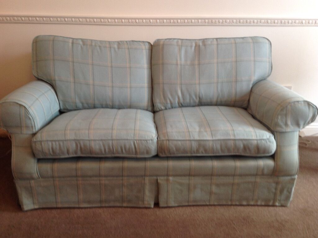 Laura Ashley Padstow 2 Seater Sofa In A Duck Egg Blue Check Only 2 Years Old 75 In Lytchett