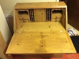 Solid pine writing bureau
