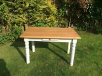 Lovely pine top kitchen table with small draw in moondust grey