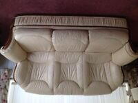 Cream leather sofa 3 seater plus pouffe