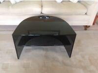 Curved designer tv stand with floating shelf