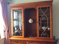 Yew Dining Table6 Chairs And Display Cabinet