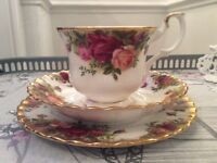 Royal Albert Bone China Trio. Old Country Roses.