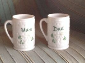 Belleek Mum and Dad Shamrock Mugs