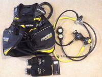 Cressi travellight BCD and Cressi regulator, SPG & depth guage