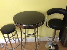 Black & chrome kitchen table & 2 stools