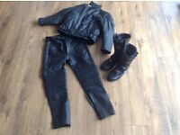 Kid motorcycle jacket trousers and boots