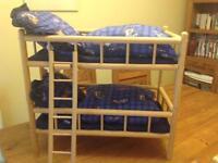 Dolls bunk beds wooden frames duvet & pillows