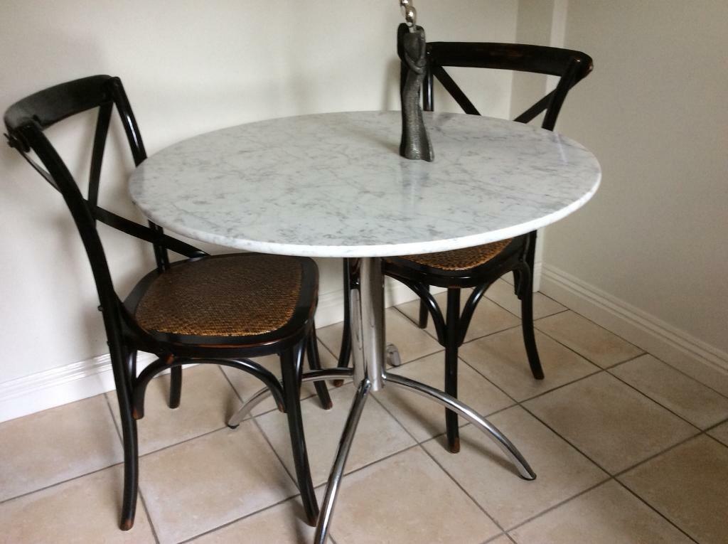 circular kitchen table with carrara marble top from john