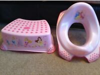 pink Disney Princess step and toilet seat, Tommee Tippee yellow potty