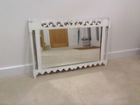 Rustic painted carved mirror