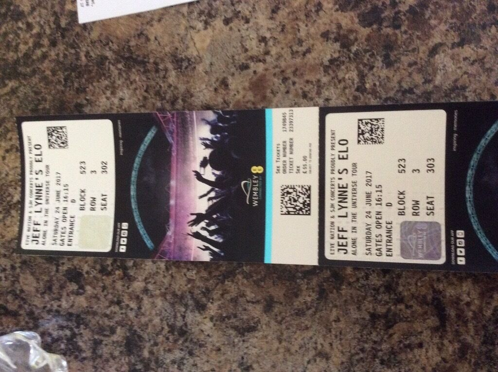 Two tickets for Jeff Lynnes ELO concert this sat 24june at Wembley stadium